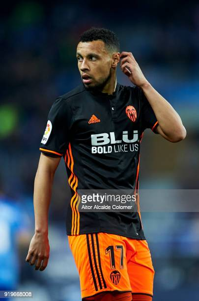Francis Coquelin of Valencia CF reacts during the La Liga match between Malaga CF and Valencia CF at Estadio La Rosaleda on February 17 2018 in...
