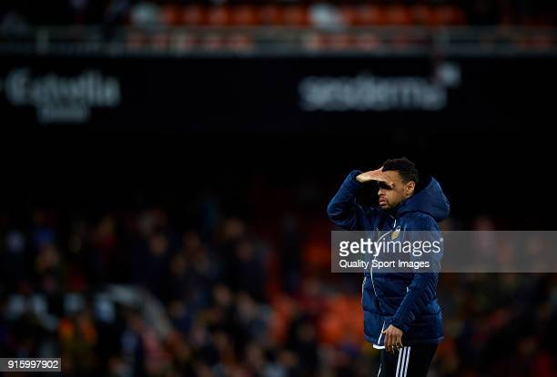 Francis Coquelin of Valencia creacts during the Semi Final Second Leg match of the Copa del Rey between Valencia CF and FC Barcelona on February 8...