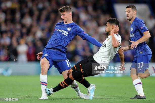 Francis Coquelin of Valencia fouls Mason Mount of Chelsea during the UEFA Champions League group H match between Chelsea FC and Valencia CF at...