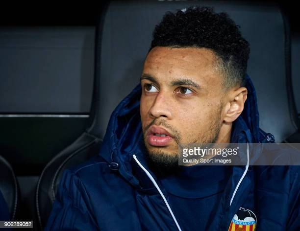 Francis Coquelin of Valencia looks on prior the Copa Del Rey 1st leg match between Valencia and Alaves at Estadio Mestalla on January 17 2018 in...