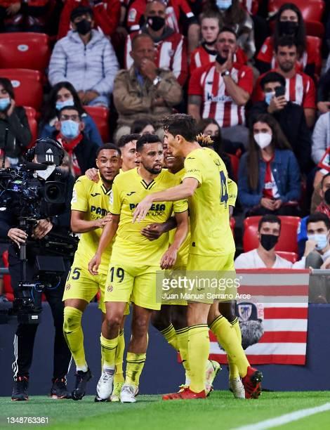Francis Coquelin of Villarreal CF celebrates after scoring goal during the LaLiga Santander match between Athletic Club and Villarreal CF at San...