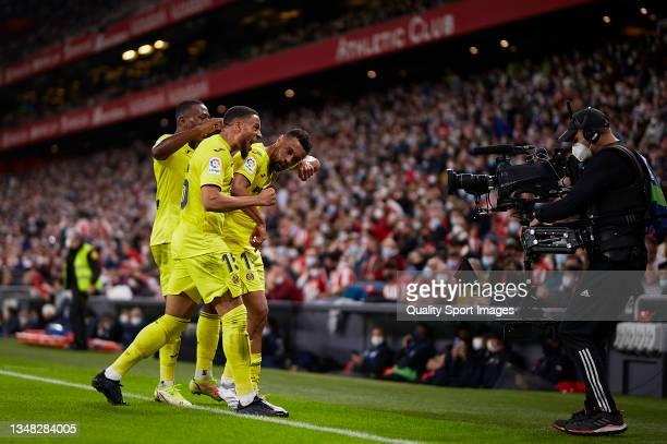 Francis Coquelin of Villarreal CF celebrates after scoring his team's first goal with his teammates Arnaut Danjuma and Pervis Estupinan during the La...