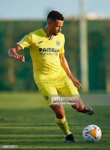 Francis Coquelin of Villarreal CF in action during a Pre-Season friendly match between Olympique Lyonnais and Villarreal CF at Pinatar Arena on July...