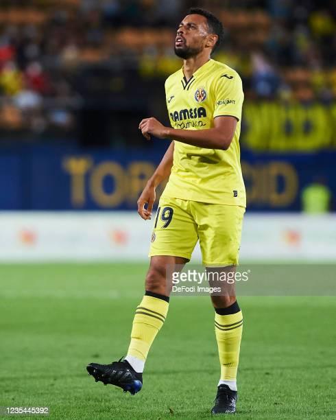 Francis Coquelin of Villarreal CF looks on during the LaLiga Santander match between Villarreal CF and Elche CF at Estadio de la Ceramica on...