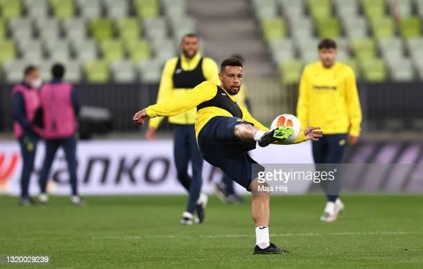 Francis Coquelin of Villarreal CF takes a shot during the Villarreal CF Training Session ahead of the UEFA Europa League Final between Villarreal CF...