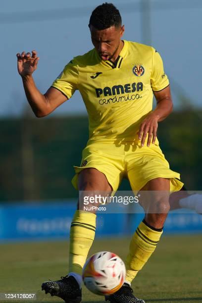 Francis Coquelin of Villarreal does passed during the pre-season friendly match between Olympique Lyonnais and Villarreal CF at Pinatar Arena on July...
