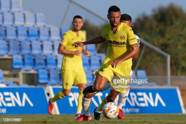 Francis Coquelin of Villarreal in action during the pre-season friendly match between Olympique Lyonnais and Villarreal CF at Pinatar Arena on July...