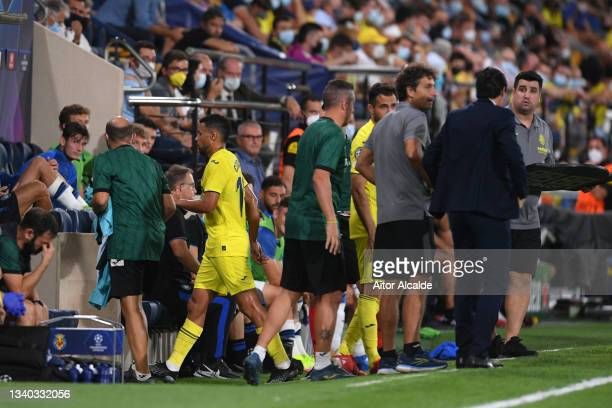 Francis Coquelin of Villarreal leaves the field after being shown a red card during the UEFA Champions League group F match between Villarreal CF and...