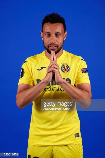Francis Coquelin of Villarreal poses for a photo during a Villarreal CF Access Day ahead of the UEFA Europa League Final between Villarreal CF and...