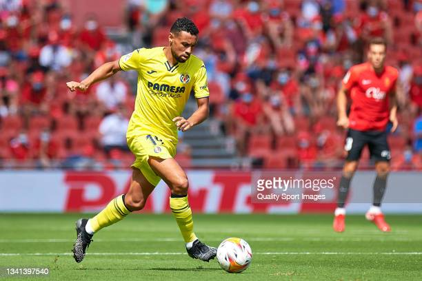 Francis Coquelin of Villarreal runs with the ball during the LaLiga Santander match between RCD Mallorca and Villarreal CF at Estadio de Son Moix on...