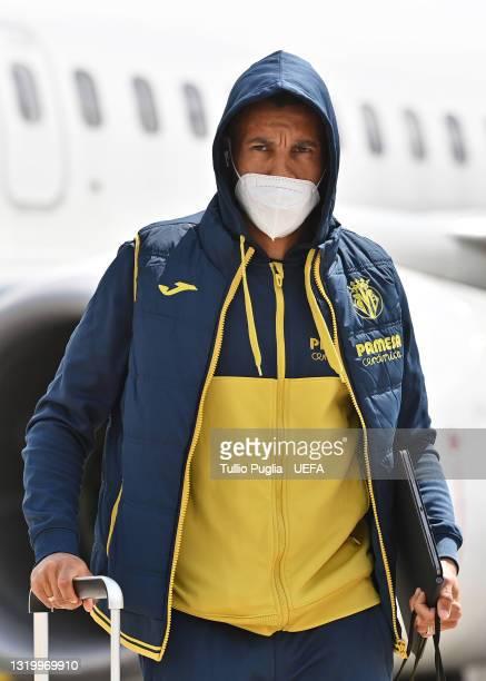 Francis Coquelin of Villarreal walks off the plane as the Villarreal CF team arrives in Gdansk ahead of the UEFA Europa League Final between...