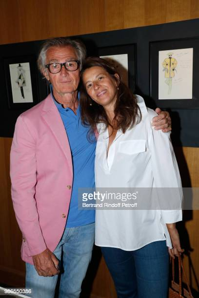 Francis d'Orleans and Fabienne Moltzer attend the Tan Giudicelli Exhibition of drawings and accessories preview at Galerie Pierre Passebon on June 28...