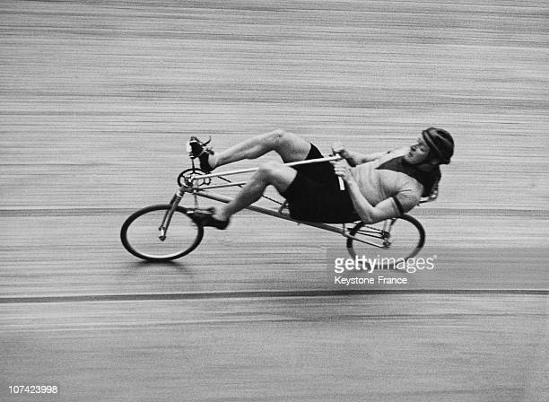 Francis Faure On His Horizontal Bicycle In France On March 1934