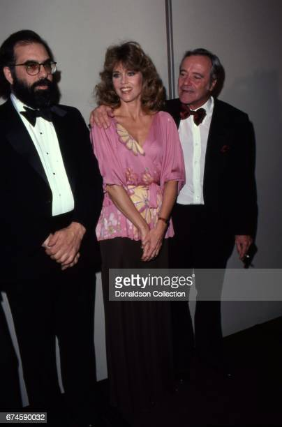 Francis Ford Coppola, actors Jane Fonda and Jack Lemmon attend the NATO awards at the Bonaventure Hotel in November 1979 in Los Angeles, California.