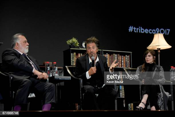 Francis Ford Coppola Al Pacino and Talia Shire speak onstage during the panel for The Godfather 45th Anniversary Screening during 2017 Tribeca Film...