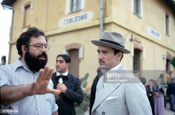 Francis Ford Coppola and Robert De Niro during the filiming of 'The Godfather Part II' Sicily 1973