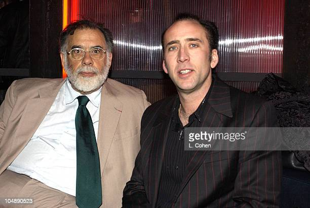 Francis Ford Coppola Nicolas Cage during SPUN Premiere AfterParty at SMIRNOFF ICE TRIPLE BLACK Lounge at the Ivar at Ivar in Hollywood CA United...