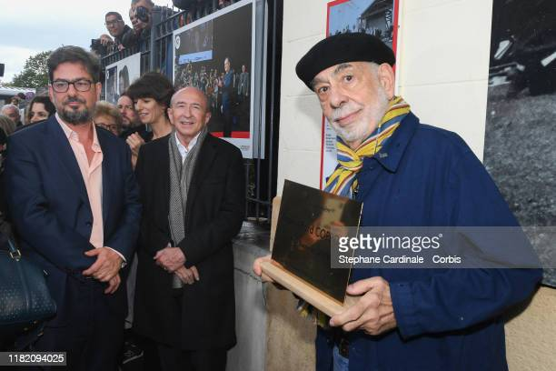 Francis Ford Coppola poses with a commemorative plaque to his name in front of the Lumière Institute after shooting the remake of Louis Lumiere's 1st...