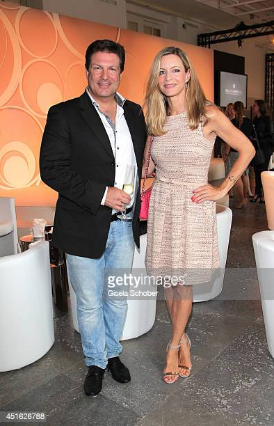Francis Fulton Smith and his wife Verena Klein attend the presentation of the Baume Mercier 'Promesse' Ladies Collection at Haus der Kunst on July 2...