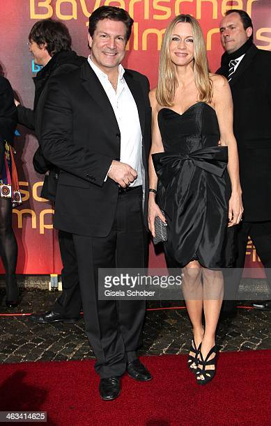 Francis Fulton Smith and wife Verena Klein attend the Bavarian Film Award 2014 at Prinzregententheater on January 17 2014 in Munich Germany