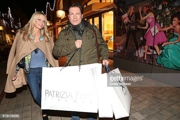 Francis FultonSmith and his wife Verena Klein with shopping bags during the society shopping event at Ingolstadt Village on October 26 2016 in...