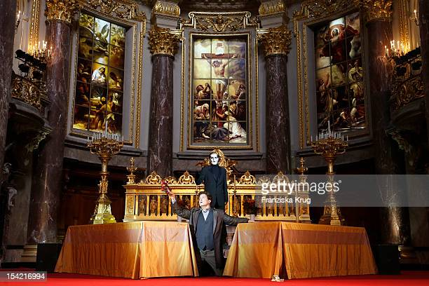 Francis Fulton-Smith and Sascha Gluth perform on stage during the 'Jedermann' dress rehearsal at the Berlin Cathedral Church on October 16, 2012 in...