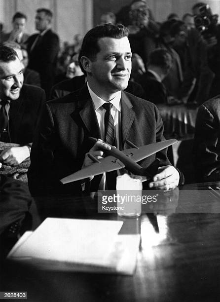 Francis Gary Powers pilot of the USA U2 spy plane which crashed in Russia May 1960 appearing before a US Senate Armed Forces Committee in Washington...