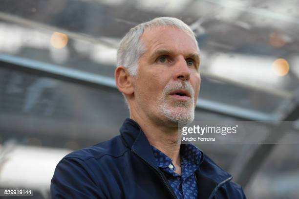 Francis Gillot coach of Auxerre during the Ligue 2 match between Paris FC and AJ Auxerre at Stade Charlety on August 25 2017 in Paris France