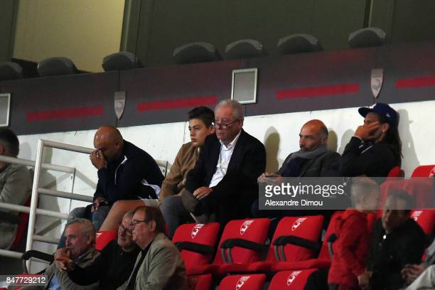 Francis Graille President of Auxerre and Auxerre sporting director Cedric Daury during the Ligue 2 match between Nimes and Aj auxerre on September 15...