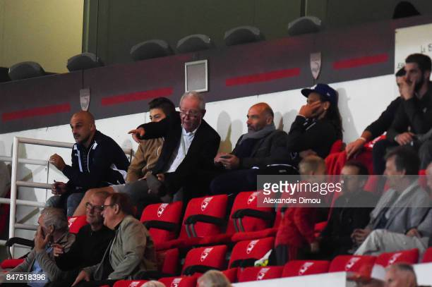 Francis Graille President of Auxerre and Cedric Duary during the Ligue 2 match between Nimes and Aj auxerre on September 15 2017 in Nimes France