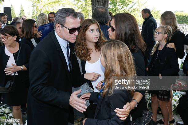 Francis Huster and Cristiana Reali with their daughters Toscane and Elisa attend President of FIFA protocol Doctor Pierre Huth's Funeral in Nogent...