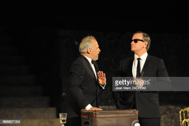 Francis Huster and Francis Perrin in Dom Juan drama by Moliere directed by Francis Huster and presented at the Nights of the Citadel in Sisteron in...