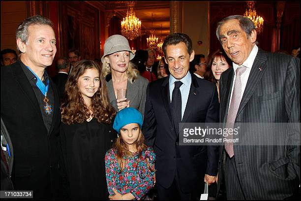 Francis Huster and his daughters Toscane and Elisa Caroline Silhol Nicolas Sarkozy Doctor Pierre Huth at Francis Huster Received As Commander In the...