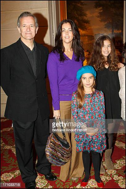 Francis Huster Cristiana Reali and their daughters Toscane and Elisa at Francis Huster Received As Commander In the National Order Of Merit During...