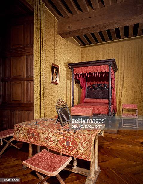 Francis I's bedchamber with Renaissance furniture Chateau d'AzayleRideau Loire Valley France