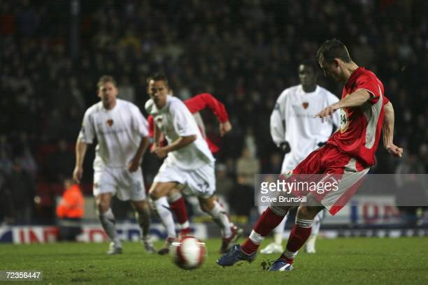 Francis Jeffers of Blackburn Rovers scores his team's second goal from the penalty spot during the UEFA Cup Group E match between Blackburn Rovers...