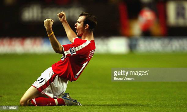 Francis Jeffers of Charlton Athletic celebrates after scoring against Aston Villa during the Barclays Premiership at The Valley on August 25, 2004 in...
