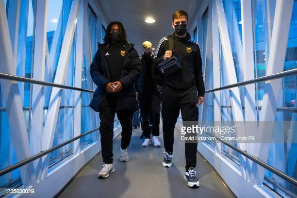 Francis Jno-Baptiste of Ostersunds FK and Charlie Colkett of Ostersunds FK boards the flight to Halmstad on October 1, 2021 in Stockholm, Sweden.