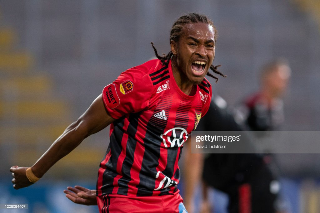 Francis Jno-Baptiste of Ostersunds FK reacts during the Allsvenskan... News  Photo - Getty Images