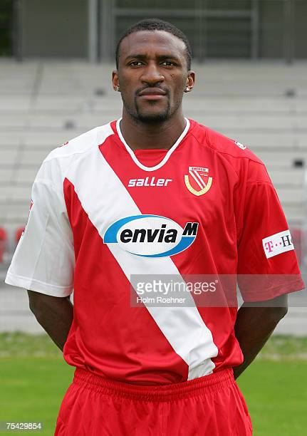 Francis Kioyo poses during the Bundesliga 2nd Team Presentation of FC Energie Cottbus on July 13 2007 in Jena Germany