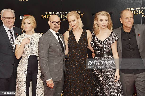 Francis Lawrence Elizabeth Banks Stanley Tucci Jennifer Lawrence Natalie Dormer and Woody Harrelson attend The Hunger Games Mockingjay Part 2 UK...
