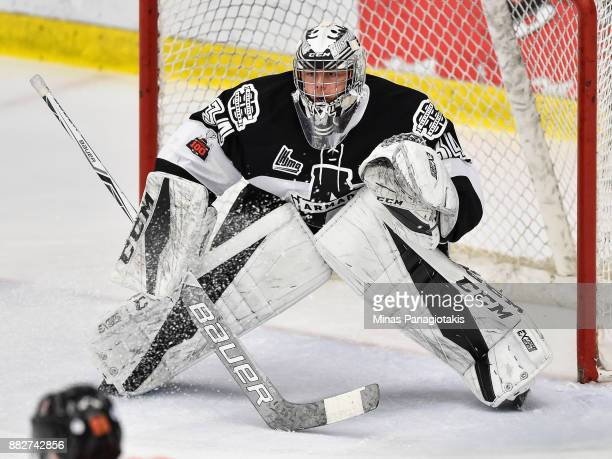 Francis Leclerc of the BlainvilleBoisbriand Armada protects his net against the BaieComeau Drakkar during the QMJHL game at Centre d'Excellence...
