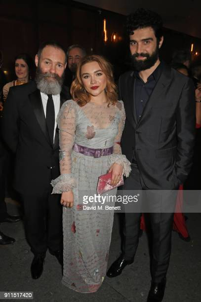 Francis Lee Florence Pugh and Alec Secareanu attend the London Film Critics' Circle Awards 2018 after party at The May Fair Hotel on January 28 2018...