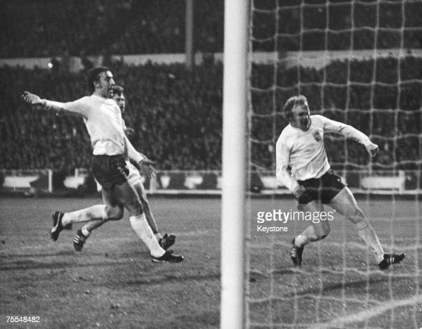 Francis Lee scoring England's only goal in their 13 defeat to West Germany in the first leg of the European Nations Cup Quarter Final at Wembley...
