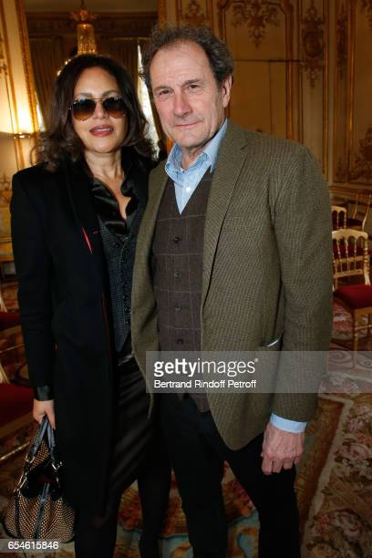 Francis Lombrail with his wife Viktor Lazlo attend Michel Bouquet is elevated to the Rank of 'Grand Officier de la Legion d'Honneur' at Elysee Palace...