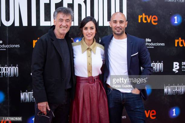 Francis Lorenzo Megan Montaner and Alain Hernandez attend the 'La Caza Monteperdido' photocall on March 22 2019 in Madrid Spain