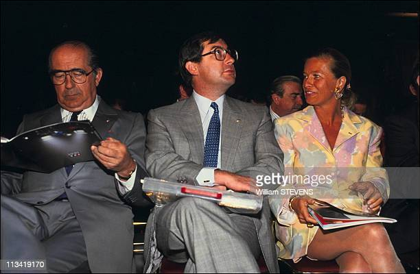 Francis Martin and Corinne Bouygues at annual results of TF1 Tv channel On May 1st 1991 In Paris France