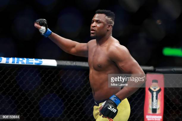 Francis Ngannou enters the octagon for his fight against Stipe Miocic in their Heavyweight Championship fight during UFC 220 at TD Garden on January...