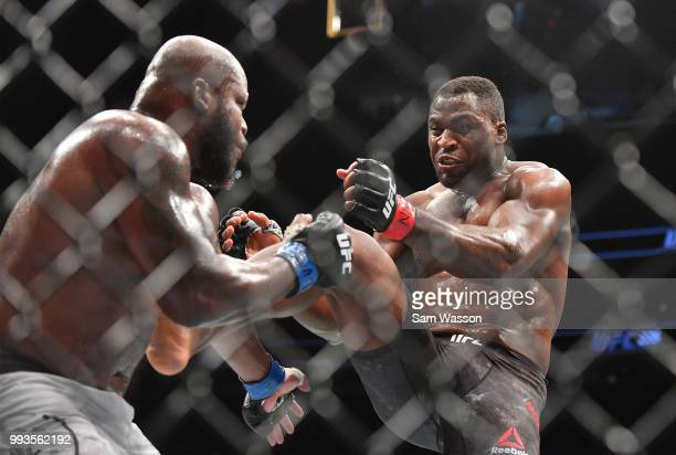 Francis Ngannou kicks Derrick Lewis during their heavyweight fight at TMobile Arena on July 7 2018 in Las Vegas Nevada Lewis won by unanimous decision