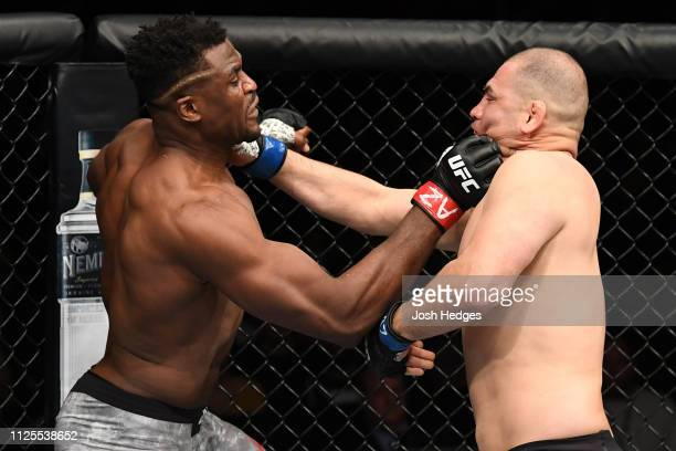 Francis Ngannou of Cameroon and Cain Velasquez exchange punches in their heavyweight bout during the UFC Fight Night event at Talking Stick Resort...